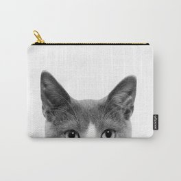 Cute Kitty Cat Portrait Art Print, Pet Animal Nursery, Funny Baby Animal Kitten Carry-All Pouch