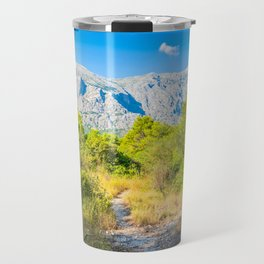 Biokovo mountain nature park and trees from Makarska Riviera, Dalmatia, Croatia Travel Mug