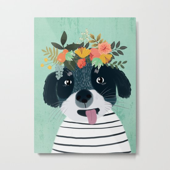 PUPPY DOGS WITH FLOWERS Metal Print
