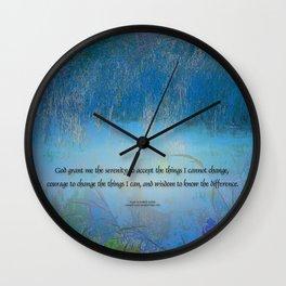 Serenity Prayer Blue Marsh Wall Clock