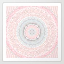 Shabby Chic Pink Poka Dot Mandala Art Print