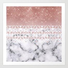 Modern Rose Gold White Marble Geometric Ombre Art Print
