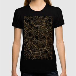 Black and gold Milan map, Italy T-shirt