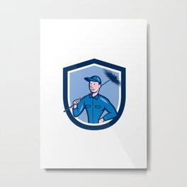 Chimney Sweep Worker Shield Cartoon Metal Print