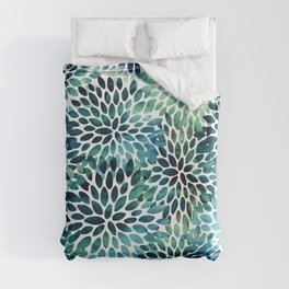 Floral Watercolor, Navy, Blue Teal, Abstract Watercolor Duvet Cover