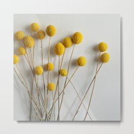 Yellow Pom-Pom Floral Metal Print