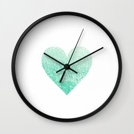 SEAFOAM HEART Wall Clock