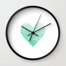 SEAFOAM HEART Wall Clock