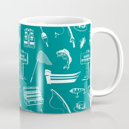 Gone Fishing // Teal Coffee Mug