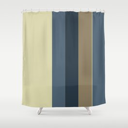 Vertical Solid Taupe Blue Stripes Shower Curtain