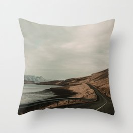 Iceland Road Landscape Throw Pillow