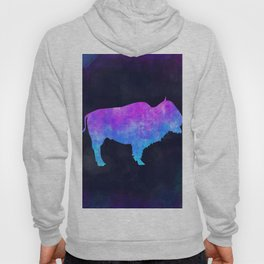 BUFFALO IN SPACE // Animal Graphic Art // Watercolor Canvas Painting // Modern Minimal Cute Hoody