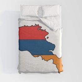 Armenia Map with Armenian Flag Duvet Cover