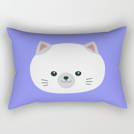 Cute white kitty with gray ears Rectangular Pillow