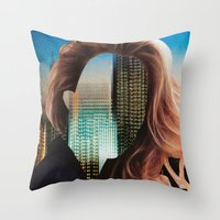 sin city Throw Pillows featuring Sin City by Imogen Art