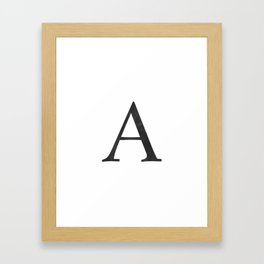 Letter A Initial Monogram Black and White Framed Art Print