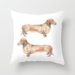 A long dog: Dachshund doxie puppy dog watercolor pet portrait Throw Pillow