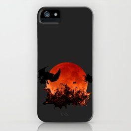 Spooky Halloween Blood Moon Screaming Birds And Spider iPhone Case