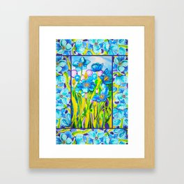 Blue Poppies 2 with Border Framed Art Print
