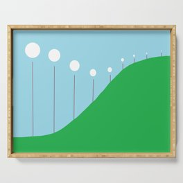 Abstract Landscape - Lights on the Hill Serving Tray
