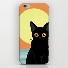 Sunset and cat iPhone Skin
