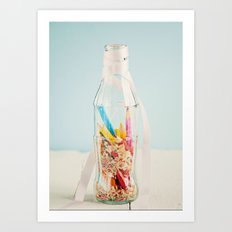 Botella de colores Art Print