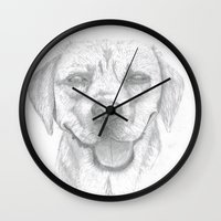 labrador Wall Clocks featuring Labrador by Malgorzata Zabawa