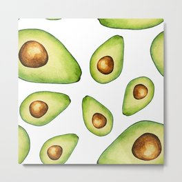 Green Avocados with Pits Pattern Digital Graphic Design Watercolor Painting Metal Print