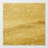 gold glitter Canvas Prints featuring Glitter Gold by Alice Gosling