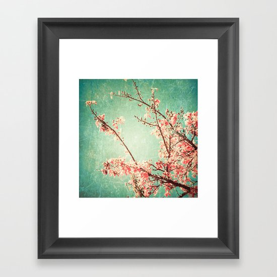 Pink Autumn Leafs on Blue Textured Sky (Vintage Nature Photography) Framed Art Print