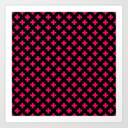 Hot Neon Pink Crosses on Black Art Print