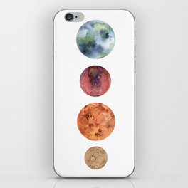 Watercolor planets: Mercury, Mars, Earth, Venus iPhone Skin