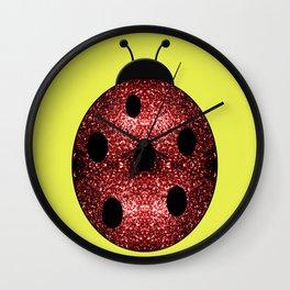 Beautiful Sparkling red sparkles Ladybird Ladybug Wall Clock