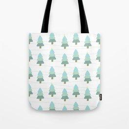 Pastel Christmas Trees (White) Tote Bag