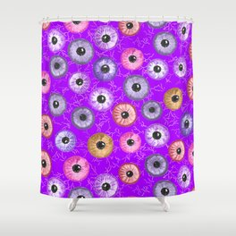 Ditsy Eyes (purples, blues, pinks, yellows) Shower Curtain