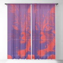 cat eyes vector art red purple Sheer Curtain