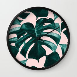 Tropical Monstera Leaves Dream #1 #tropical #decor #art #society6 Wall Clock