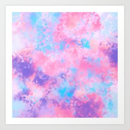 Artsy Girly Pink Blue Abstract Paint Splatter Art Art Print