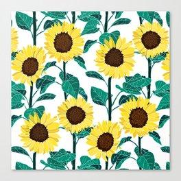 Sunny Sunflowers - White Canvas Print