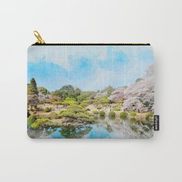 beautiful blossom sakura, pond and blue sky in spring time in Shinjuku Gyoen Park, tokyo Carry-All Pouch