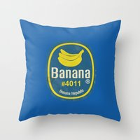 sticker Throw Pillows featuring Banana Sticker On Blue by Karolis Butenas