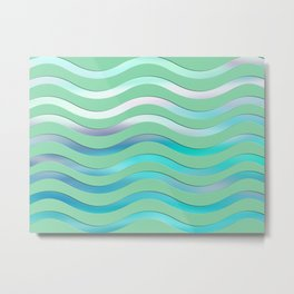 Abstract Turquoise Waves Pattern Metal Print