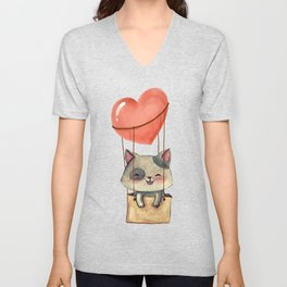 funny cute sweet kitten cat lovers hot air balloon of love present gift idea Unisex V-Neck