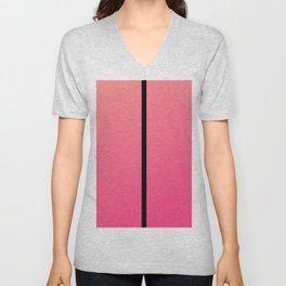 Minimalist Pink Coral Black Striped Ombre Unisex V-Neck