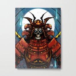 Skull Samurai Metal Print