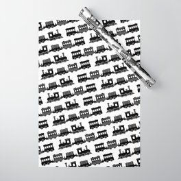Black and White Wooden Toy Trains Pattern Wrapping Paper