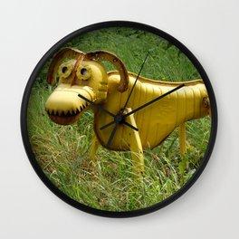 Robot Dog walk Yellow Metal Pet Funny recycling sculpture Trash Art Outdoor photography Wall Clock