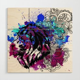 Purple Lion Spirit Wood Wall Art