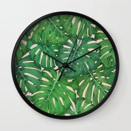 ROSE QUARTZ MONSTERA, by Frank-Joseph Wall Clock