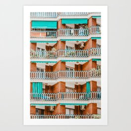 Apartment Building Facade Pattern Print, Architecture Print, Urban Photography, City Print, Abstract Residential Poster Art Print